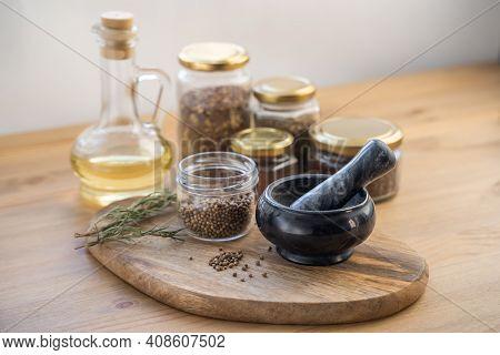 Medicinal Herbs, Mortar Of Healing Herbs. Herbal Medicine. Top View, Flat Lay.