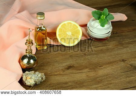 Perfect Ingredients For Homemade Facial Mask And Relaxation With Copy Space. Olive Oil, Heavy Cream