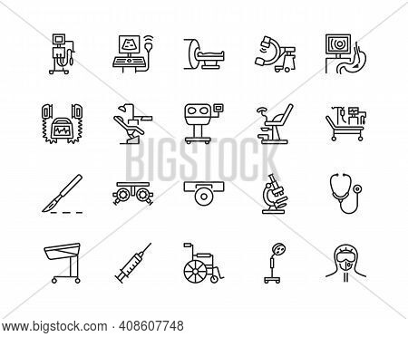 Medical Examination Equipment Flat Line Icon Set. Vector Illustration Diagnostic Tools. Symbols For
