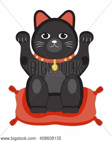 Maneki Neko Black Vector Isolated On White Background. Lucky Cat In Japanese Traditional Culture. Ta