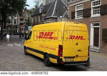 Amsterdam, Netherlands - July 10, 2017: Dhl Express Van In Amsterdam, Netherlands. Dhl Is A World Ma