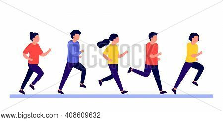 Group People Do Run Sport Active. Men And Women Running Marathon Race, Jogging, Racing. People Train