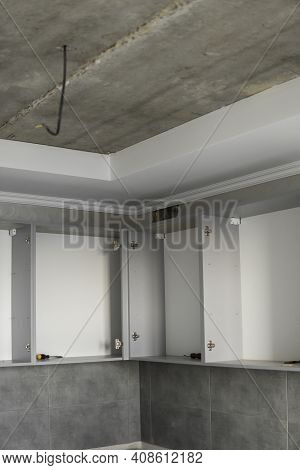 Custom Kitchen Cabinets Installation Without A Furniture Facades Mdf. Gray Modular Kitchen From Chip