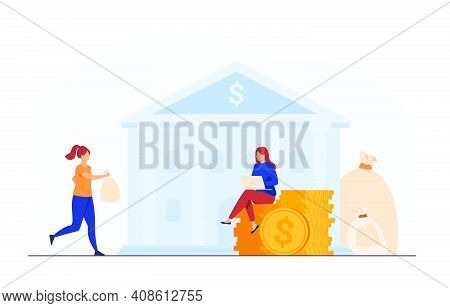 Banker Taking Clients Money For Saving. Trader Or Broker With Laptop Working On Cash. Flat Vector Il