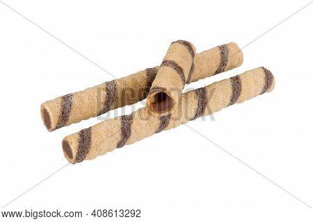 Wafer Sticks On Isolated White Background. Wafer Sticks On Isolated White Background