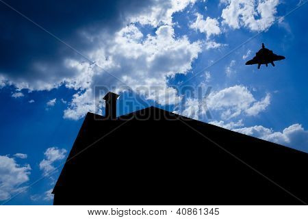 silhouette of house