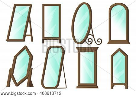 Creative Floor Mirrors With Wooden Frames Flat Item Set. Cartoon Rectangular Or Round Mirrors For Ho
