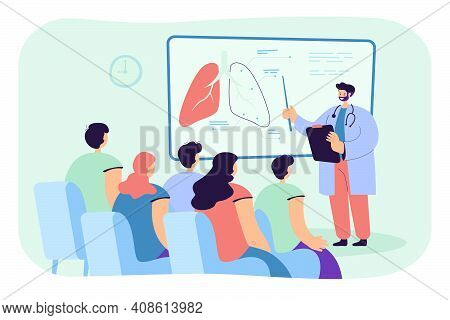 Doctor Showing Lungs To Students Flat Vector Illustration. Cartoon Audience Sitting And Listening Le