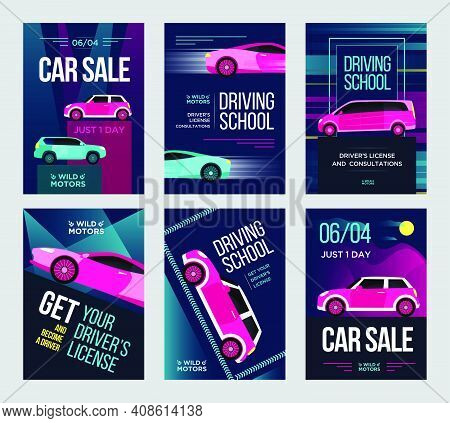 Driving School Invitation Flyers Set. Fast Cars In Motion Vector Illustrations With Text, Time And D