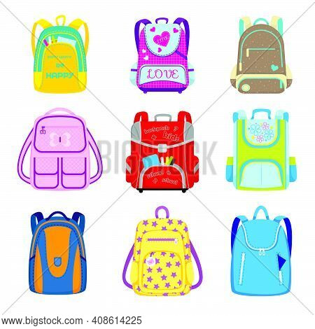 Elementary School Backpacks Set. Kids Schoolbags With Supplies In Open Pockets, Childish Bags And Ru
