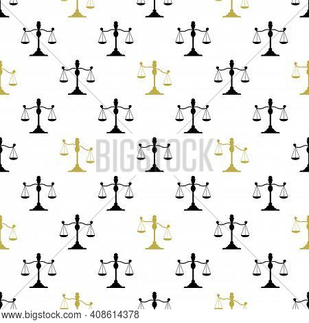 Seamless Pattern With Scales. Scales Black And Gold Silhouette. Balance And Finance And Justice Symb