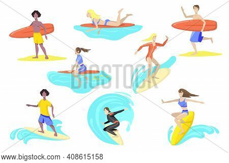 Happy Surfers With Surfboards Flat Set For Web Design. Cartoon People Surfing, Standing, Running, Sw