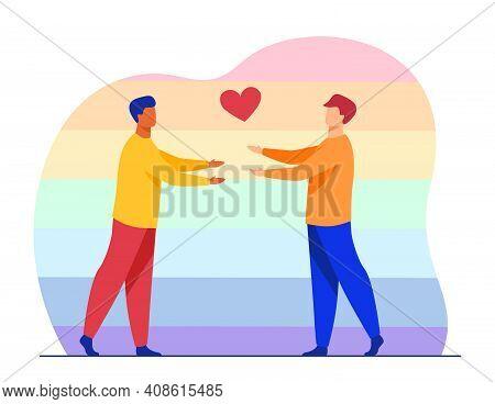 Male Gay Couple In Love. Heart Symbol, Hug, Rainbow Background. Flat Vector Illustration. Homosexual