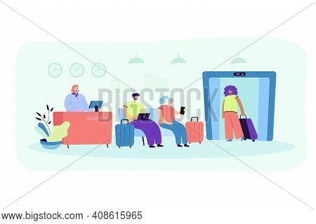 People On Hotel Reception Isolated Flat Vector Illustration. Cartoon Receptionist Standing At Counte