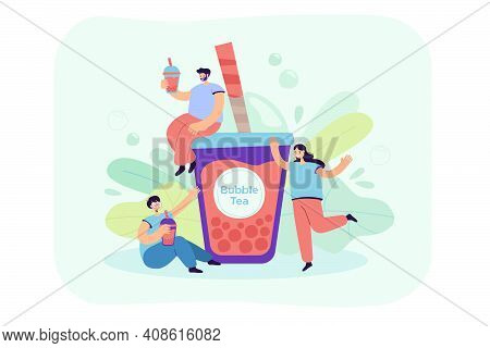 Positive Tiny People Drinking Bubble Tea Isolated Flat Vector Illustration. Cartoon Cute Characters