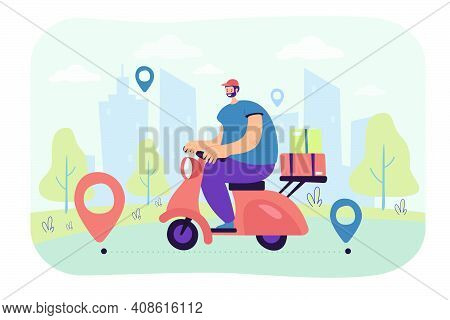 Professional Courier Delivering Order On Scooter Flat Vector Illustration. Cartoon Man Shipping Pack