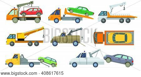 Tow Truck Set. Heavy Carrier With Crane Towing Broken Cars Isolated On White Background. Vector Illu
