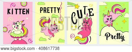 Unicorn Cat Posters Set. Funny Cartoon Baby Kitten With Rainbow Horn And Tail On Clouds Vector Illus