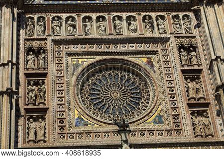 Orvieto (tr), Italy - May 10, 2016: A Particular Of Orvieto Cathedral Facade, Terni, Umbria, Italy