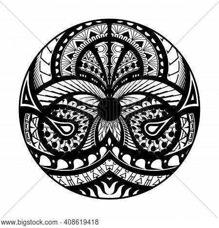 Maori Circle Tattoo Shape, Tribal Tattoo Design Pattern Polynesian Mandala Vector