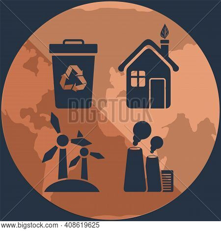 Silhouettes Of Objects Destroying And Saving Ecology Of Earth On Background Of Planet. Waste Recycli