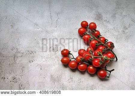 A Twig With Fresh Tomatoes, Juicy, Red Little Tomatoes On The Twig