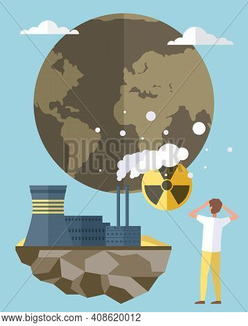 Planet Is Victim Of Air Pollution. Saving Earth And Environmental Care Concept. People Make World Su