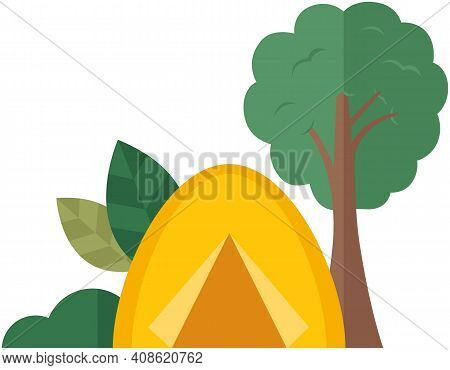 Summer Camping In Park Or Forest. Tourist Tent Under Tree. Hiking, Summer Vacation Poster, Banner Te