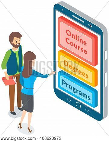 Online Education Concept. Woman Presses Buttons On Smartphone In Education Application On Screen. Di