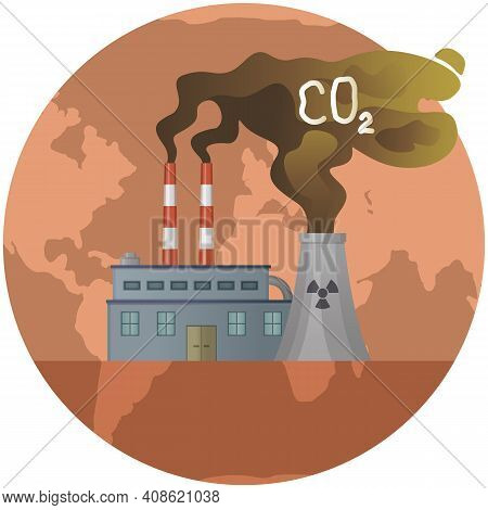 Plant Emits Smoke And Smog From Pipes. Pollutants Enter Atmosphere. Environmental Disaster. Harmful