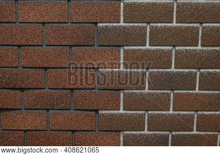 Texture Of Shingles In Form Of Brickwork. Reliable Bituminous Roofing Material. Building Materials F