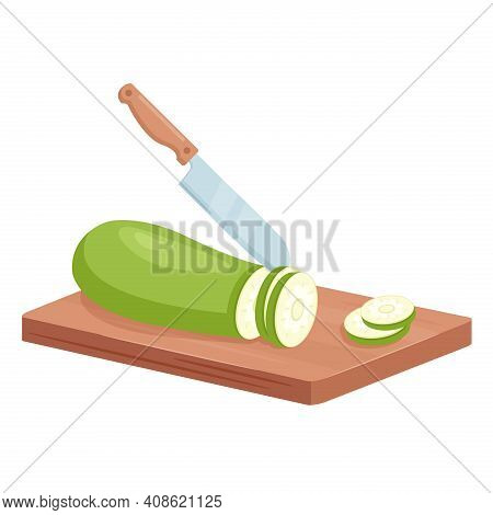 Cut Zucchini Vegetable Into Slices, Isometric Kitchen Knife Slicing Green Courgette