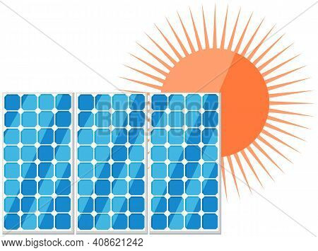 Solar Panels Flat Vector Illustration. Production And Usage Of Environmentally Friendly Energy. Crea