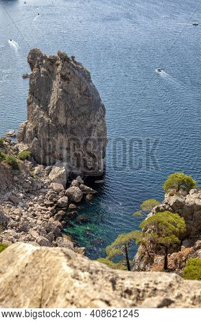 Landscape Seascape With Cliffs And Rocks Sea, Vertical Seascape