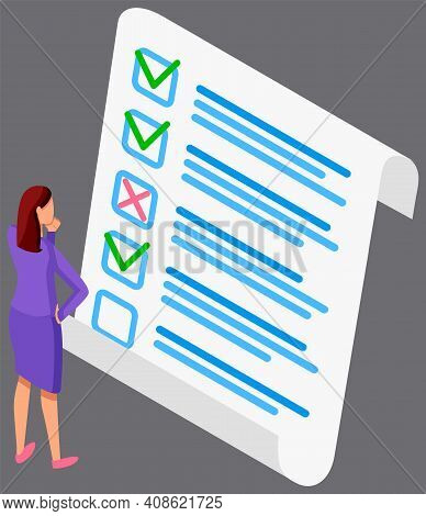 Woman Studying Questionnaire. Female Character Checks And Grades Test. Online Business Survey Concep