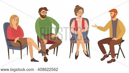 Group Of People Are Sitting Together On Chairs And Talking. The Psychologist Is Asking Questions. Co