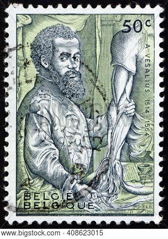 Belgium - Circa 1964: A Stamp Printed In Belgium Shows Andreas Vesalius, Flemish Anatomist, Founder