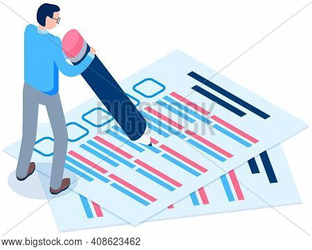 Offline Exam Vector Illustration. Student Fills Out Questionnaire. Guy With Pencil Writes Test. Man