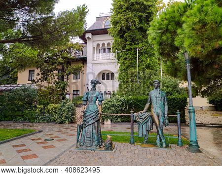 Monument To A.p. Chekhov And A Lady With A Dog On The Yalta Embankment, Next To The Villa. Travel Ac