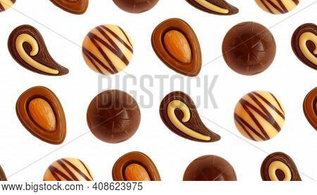 Chocolate Candy Isolated On White Background Praline