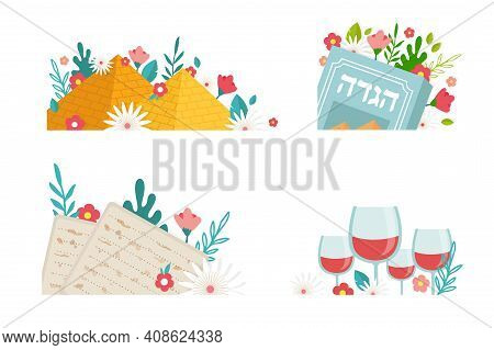 Pesah Celebration Greeting Icons, Jewish Passover Holiday. Greeting Cards With Traditional Icons, Fo