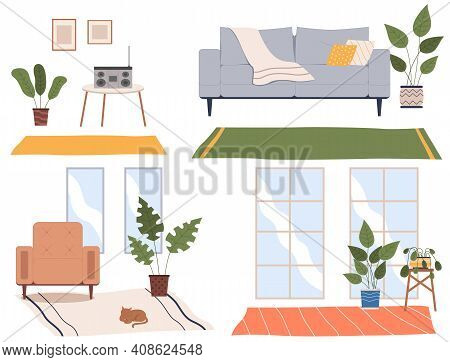 Set Of Four Scenes Of Home Interior. Cozy Place Of The Room Near Window With Chairs, Sofa, Table Wit