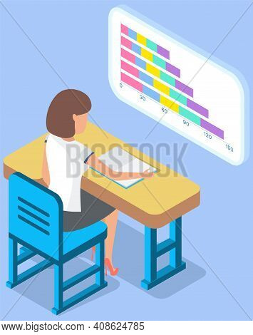 Businesswoman Working At Desk Analyzing Financial Statistics. Female Professional Marketer Studies I