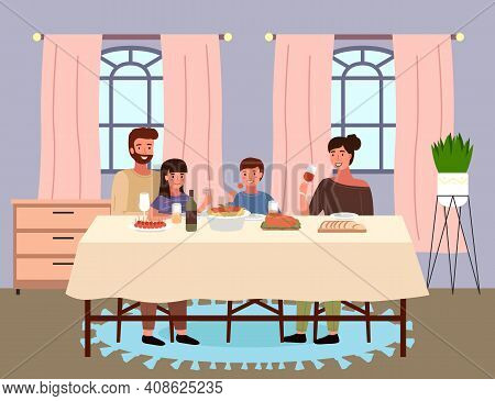 Italian Family At Home In Dining Room. Dining Table With Pasta And Snack. Arrangement Of Furniture.