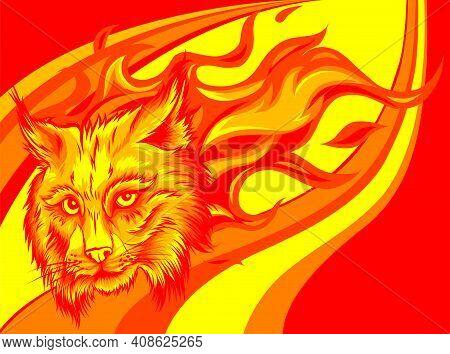Vector Eurasian Lynx Cat Head With Flames.