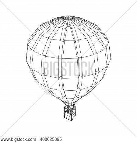 Airballoon Design Airway Travel Transport. Air Ship With Cabin. Wireframe Low Poly Mesh Vector Illus