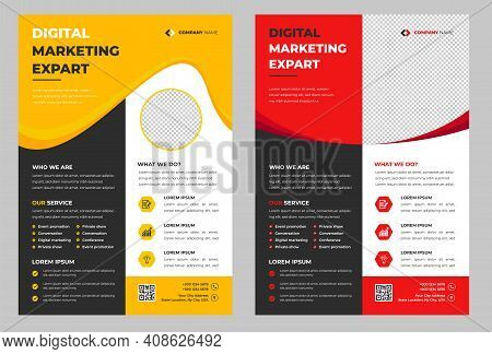 Corporate Business Flyer Template Design With Yellow And Red Color. Marketing, Business Proposal, Pr
