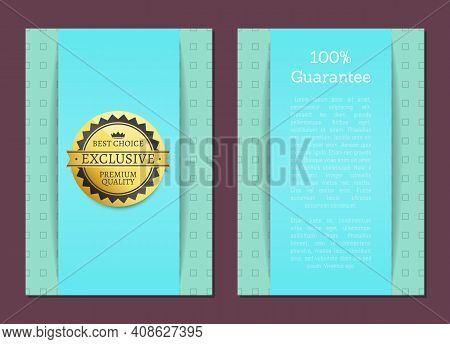 Best Choice Golden Label, Blue Vector Template For Double-sided Postcard Premium Quality Reward. Des