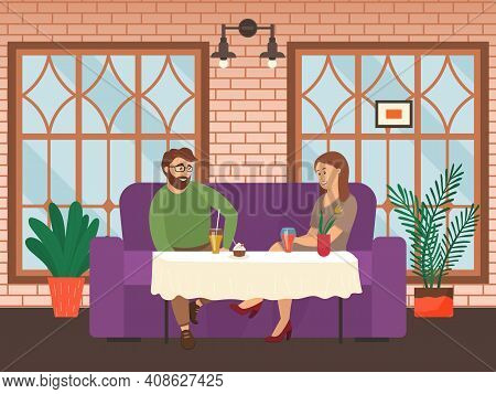 Characters Are Eating Tasty Food Together. Couple On A Date Sits And Communicates In A Restaurant. T