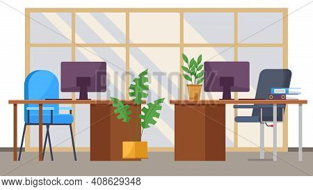 Modern Workplace Space For Two Workers. Office Chair And Desk With Computer In Comfortable Room Inte